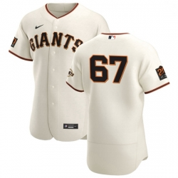San Francisco Giants 67 Sam Selman Men Nike Cream Home 2020 Authentic 20 at 24 Patch Player MLB Jersey