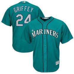 Men Mariners 24 Ken Griffey cyan blue Cool Base  jersey