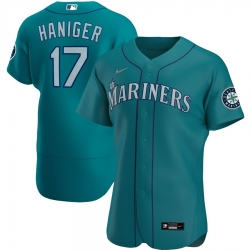 Men Seattle Mariners 17 Mitch Haniger Men Nike Aqua Alternate 2020 Flex Base Player MLB Jersey