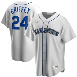 Men Seattle Mariners 24 Ken Griffey Jr  Nike Home Cooperstown Collection Player MLB Jersey White
