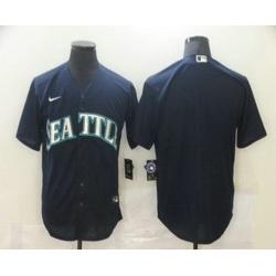 Men Seattle Mariners Blank Navy Blue Stitched MLB Cool Base Nike Jersey