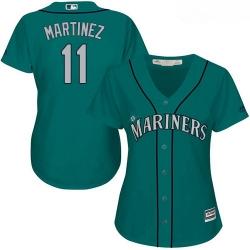 Mariners #11 Edgar Martinez Green Alternate Women Stitched Baseball Jersey