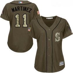 Mariners #11 Edgar Martinez Green Salute to Service Women Stitched Baseball Jersey
