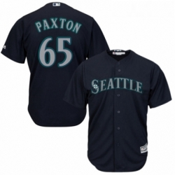 Youth Majestic Seattle Mariners 65 James Paxton Replica Navy Blue Alternate 2 Cool Base MLB Jersey