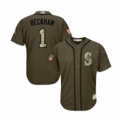 Youth Seattle Mariners 1 Tim Beckham Authentic Green Salute to Service Baseball Jersey