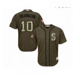 Youth Seattle Mariners 10 Edwin Encarnacion Authentic Green Salute to Service Baseball Jersey