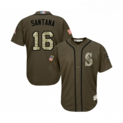 Youth Seattle Mariners 16 Domingo Santana Authentic Green Salute to Service Baseball Jersey