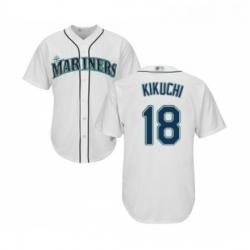 Youth Seattle Mariners 18 Yusei Kikuchi Replica White Home Cool Base Baseball Jersey