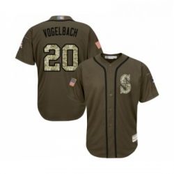 Youth Seattle Mariners 20 Dan Vogelbach Authentic Green Salute to Service Baseball Jersey