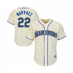 Youth Seattle Mariners 22 Omar Narvaez Replica Cream Alternate Cool Base Baseball Jersey