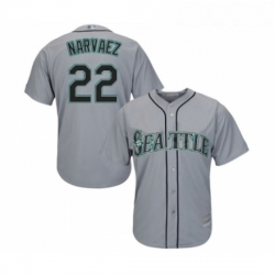 Youth Seattle Mariners 22 Omar Narvaez Replica Grey Road Cool Base Baseball Jersey