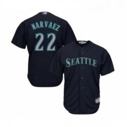 Youth Seattle Mariners 22 Omar Narvaez Replica Navy Blue Alternate 2 Cool Base Baseball Jersey