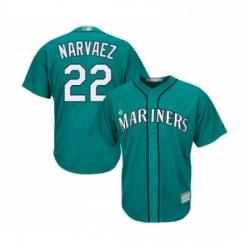 Youth Seattle Mariners 22 Omar Narvaez Replica Teal Green Alternate Cool Base Baseball Jersey