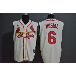 Cardinals 6 Stan Musial Cream Nike Cool Base Sleeveless Jersey