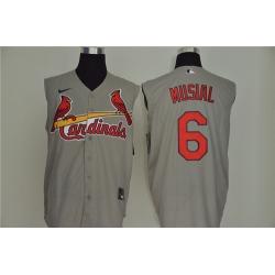 Cardinals 6 Stan Musial Gray Nike Cool Base Sleeveless Jersey
