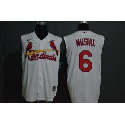 Cardinals 6 Stan Musial White Nike Cool Base Sleeveless Jersey