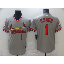 Men Nike St. Louis Cardinals Ozzie Smith Gray Pullover Cool Base Jersey
