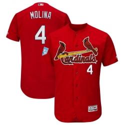 Men St. Louis Cardinals #4 Yadier Molina Red MLB Jersey