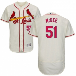 Mens Majestic St Louis Cardinals 51 Willie McGee Cream Alternate Flex Base Authentic Collection MLB Jersey