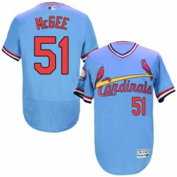Mens Majestic St Louis Cardinals 51 Willie McGee Light Blue FlexBase Authentic Collection MLB Jersey