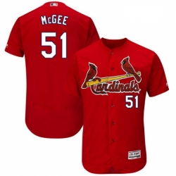 Mens Majestic St Louis Cardinals 51 Willie McGee Red Alternate Flex Base Authentic Collection MLB Jersey