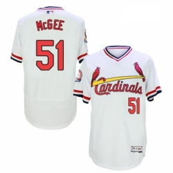Mens Majestic St Louis Cardinals 51 Willie McGee White Flexbase Authentic Collection Cooperstown MLB Jersey
