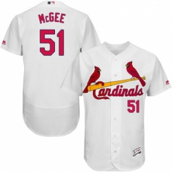 Mens Majestic St Louis Cardinals 51 Willie McGee White Home Flex Base Authentic Collection MLB Jersey