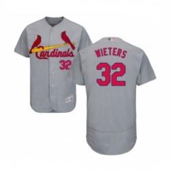 Mens St Louis Cardinals 32 Matt Wieters Grey Road Flex Base Authentic Collection Baseball Jersey