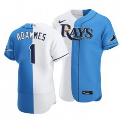 Men Tampa Bay Rays 1 Willy Adames Split White Blue Two Tone Jersey