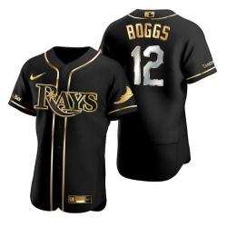 Men Tampa Bay Rays 12 Wade Boggs Black Gold 2020 Nike Flexbase Jersey