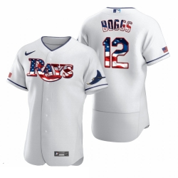 Men Tampa Bay Rays 12 Wade Boggs Men Nike White Fluttering USA Flag Limited Edition Flex Base MLB Jersey