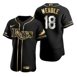 Men Tampa Bay Rays 18 Joey Wendle Black Gold 2020 Nike Flexbase Jersey