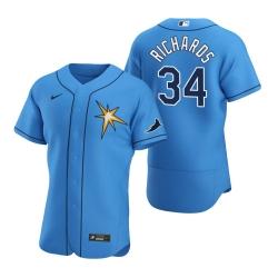 Men Tampa Bay Rays 34 Trevor Richards Men Nike Light Blue Alternate 2020 Flex Base Team MLB Jersey
