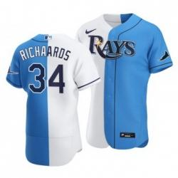 Men Tampa Bay Rays 34 Trevor Richards Split White Blue Two Tone Jersey