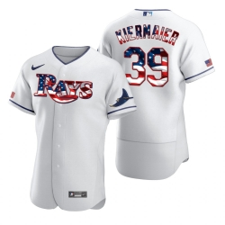 Men Tampa Bay Rays 39 Kevin Kiermaier Men Nike White Fluttering USA Flag Limited Edition Flex Base MLB Jersey