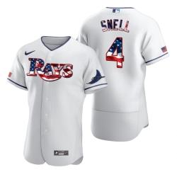 Men Tampa Bay Rays 4 Blake Snell Men Nike White Fluttering USA Flag Limited Edition Flex Base MLB Jersey