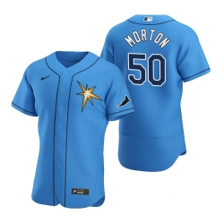 Men Tampa Bay Rays 50 Charlie Morton Men Nike Light Blue Alternate 2020 Flex Base Team MLB Jersey
