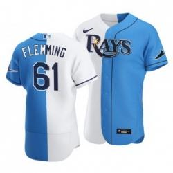 Men Tampa Bay Rays 61 Josh Fleming Split White Blue Two Tone Jersey
