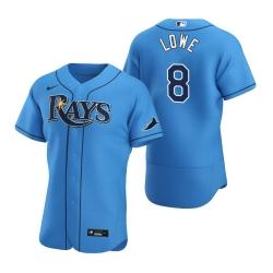 Men Tampa Bay Rays 8 Brandon Lowe Men Nike Light Blue Alternate 2020 Flex Base Player MLB Jersey