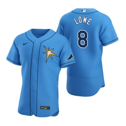 Men Tampa Bay Rays 8 Brandon Lowe Men Nike Light Blue Alternate 2020 Flex Base Team MLB Jersey