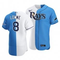 Men Tampa Bay Rays 8 Brandon Lowe Split White Blue Two Tone Jersey
