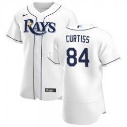 Men Tampa Bay Rays 84 John Curtiss Men Nike White Home 2020 Flex Base Player MLB Jersey