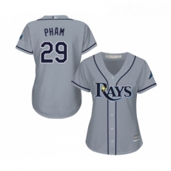 Womens Tampa Bay Rays 29 Tommy Pham Replica Grey Road Cool Base Baseball Jersey