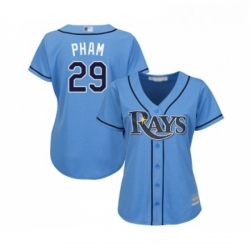 Womens Tampa Bay Rays 29 Tommy Pham Replica Light Blue Alternate 2 Cool Base Baseball Jersey