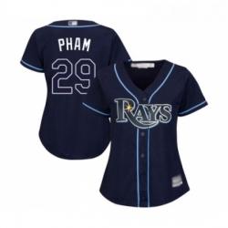 Womens Tampa Bay Rays 29 Tommy Pham Replica Navy Blue Alternate Cool Base Baseball Jersey