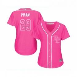 Womens Tampa Bay Rays 29 Tommy Pham Replica Pink Fashion Cool Base Baseball Jersey
