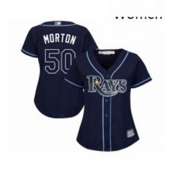 Womens Tampa Bay Rays 50 Charlie Morton Replica Navy Blue Alternate Cool Base Baseball Jersey