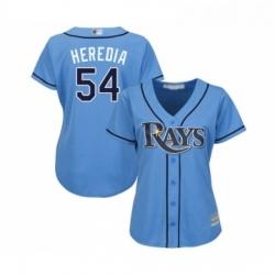 Womens Tampa Bay Rays 54 Guillermo Heredia Replica Light Blue Alternate 2 Cool Base Baseball Jersey