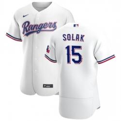Texas Rangers 15 Nick Solak Men Nike White Home 2020 Authentic Player MLB Jersey