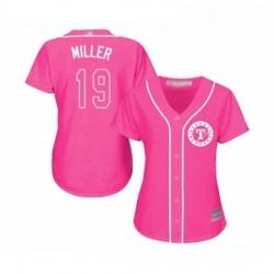 Womens Texas Rangers 19 Shelby Miller Replica Pink Fashion Cool Base Baseball Jersey